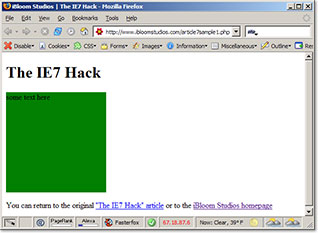 Screenshot of the IE7 css hack in Firefox 1.5